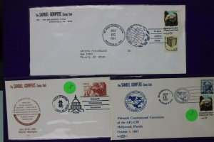 Samuel Gompers stamp club philatelic cover expo convention lot 1981-1983