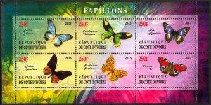 Ivory Coast 2013 Butterflies (4) MNH Cinderella !