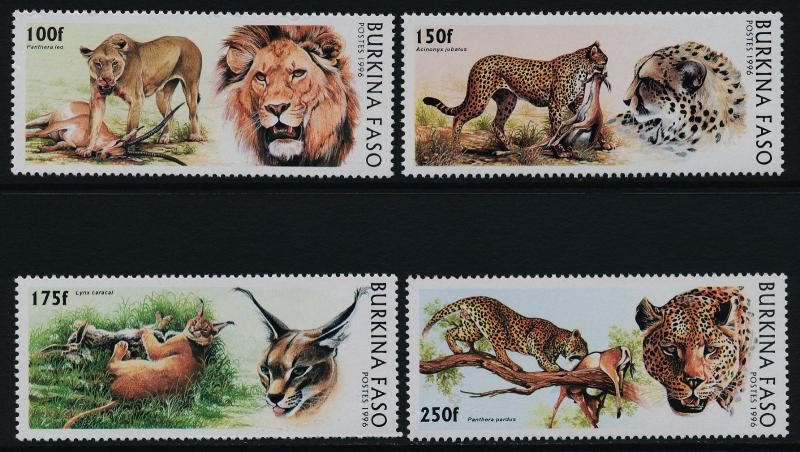 Burkina Faso 1079-82 MNH Wild Cats, Lions, Leopard, Lynx, Panther