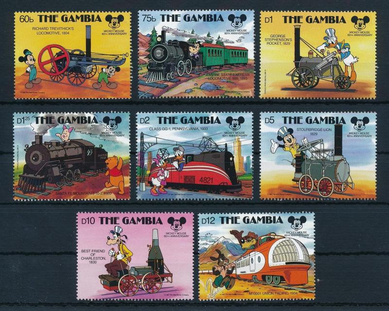 [22354] Gambia 1987 Disney 60th Birthday Mickey Mouse by train MNH