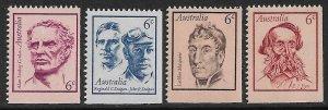 AUSTRALIA 1970 FAMOUS AUSTRALIANS Set Sc 454-457 MNH