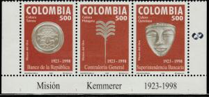 COLOMBIA 1144, NATL FINANCIAL AGENCIES, STRIP OF THREE. MINT, NH. F-VF. (538)