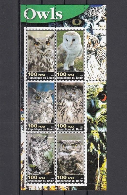 Benin, 2003 Cinderella issue. Owls sheet of 6.