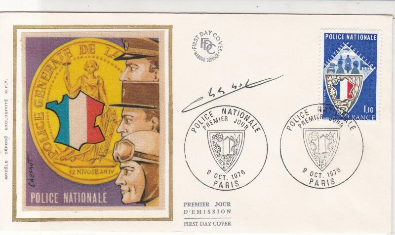 France 1976 National Police Shield Paris Slogan Cancels FDC Stamps Cover Rf26840