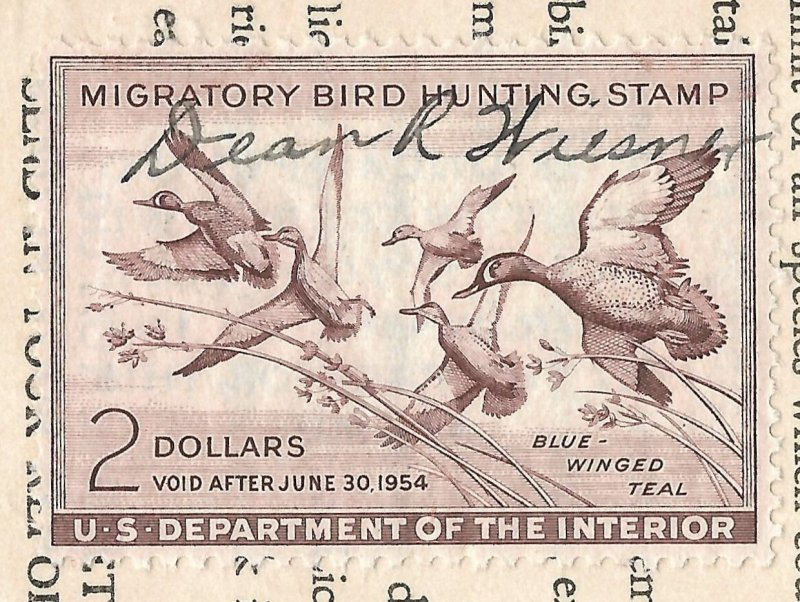 Doyle's_Stamps: Signed, Used #RW20 Federal Duck Stamp of 1953 on License (2)