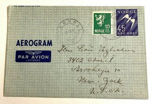Tingvoll Norway > Brooklyn NY aerogramme letter cover 1951