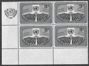 UN New York SC 45 - General Assembly - Block of 4 - MNH - 1956