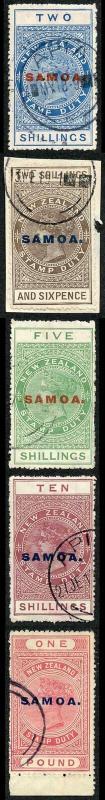 Samoa SG122/6 1914 High Values Set of 5 Fine used