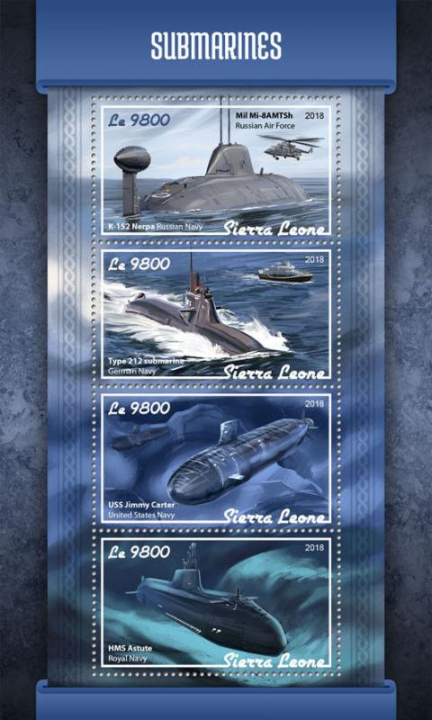 Sierra Leone 2018 MNH Submarines HMS Astute K-152 Nerpa 4v MS Boats Ships Stamps