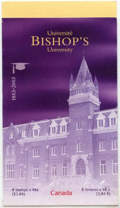 Canada USC #BK266a Glued Flap Booklet Cat. $9.00 2003 Bishop's University