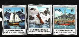 South Georgia-Sc#201-3- id2-unused NH set-Yachts-Ships-1995-