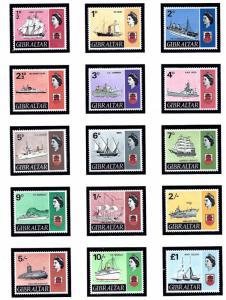 Gibraltar 186-99 MNH 1967-69 Definitive Set with Ships