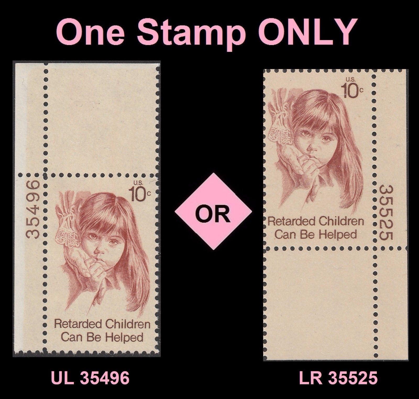 US 1549 Retarded Children 10c Plate Single MNH 1974 HipStamp