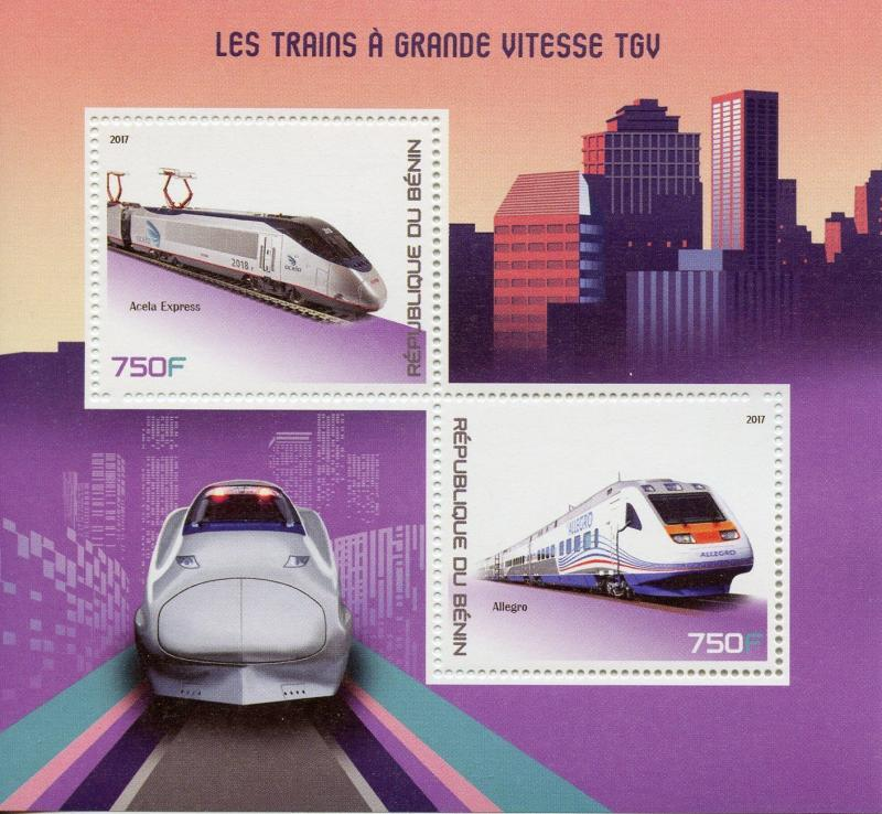 Benin 2017 MNH TGV High-Speed Trains Acela Express Allegro 2v M/S Rail Stamps