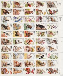 1987 U.S N America Wildlife 22¢ complete sheet top plate no. MNH Sc 2286 / 2335