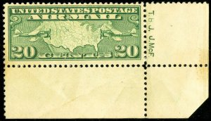 US Stamps # C9 MNH VF Engravers initials