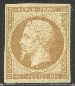 FRANCE #10 RARE Unused w/Cert - 1852 10c Pale Bistre