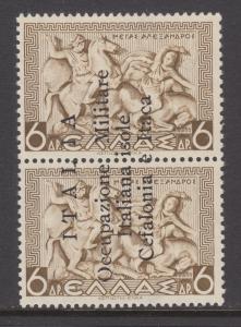 Ionian Islands Sc N11a MLH 1941 6d vert. pr. with Italian Occupation overprint