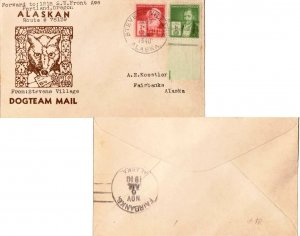 United States Alaska Stevens Village 1946 4c-bar  Ty. 1  Dog Team Mail to Fai...