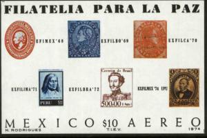 MEXICO C434, Exfilmex74 Interam Philatelic Exhibition SS MINT, NH. VF.