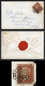 1841 Penny Red (KL) Superb Greenock Distinctive Maltese Cross on Cover