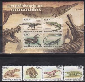 Burundi MNH S/S & 4 Stamps 907-11 Prehistoric Crocodiles 2011