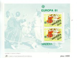 Portugal  Madeira 1981 Europa mini sheet   Mint VF NH