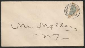 1903 DANISH WEST INDIES (FREDERIKSTED ) HALF USED ON SMALL ENVELOPE  PAY 2 CENT