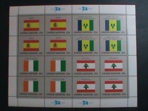 UNITED NATION-1988 SC#528-531 U. N. FLAGS SERIES MNH FULL SHEET- VERY FINE