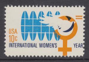 US Sc 1571 MNH. 1975 10c International Women's Year, Orange Color Shift