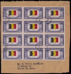 US SCOTT #914 USEDFLAG OF BELGIUM BLOCK OF TWELVE F-VF