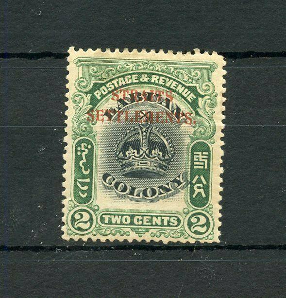 STRAITS SETTLEMENTS  SCOTT#135 2c CROWN STAMP OF LABUAN RED OVP'TD  MINT  HINGED