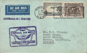 1934, First Flight Cover, Sidney, Australia to Auckland, New Zealand