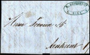 1863 H Hopker & Co Riga Latvia Entire Cover to Arnheim Postal History