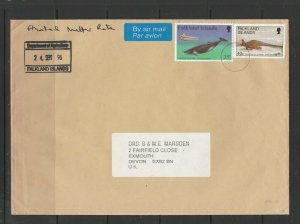 Falkland islands 1996 Cover to england with Govt Departmental cachet, Agricultur