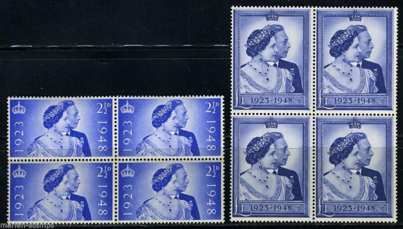 GREAT BRITAIN SILVER WEDDING BLOCKS OF FOUR   SC#267/68  SG#493/94  MINT  NH