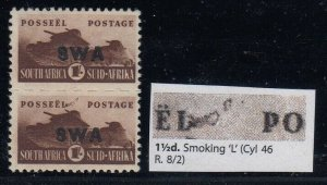 South West Africa, SG 130e, MLH pair Smoking L variety