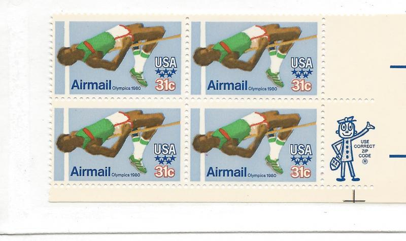 United States, C97, Olympic Games ZIP Block (4), MNH