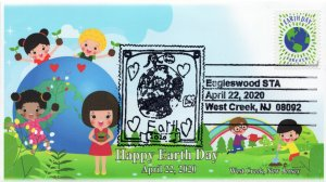 20-058, 2020, Earth Day, Pictorial Postmark, Event Cover, West Creek NJ
