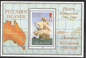 PITCAIRN ISLANDS SGMS314 1990 AUSTRALIAN BI-CENTENARY WITH O/P MNH