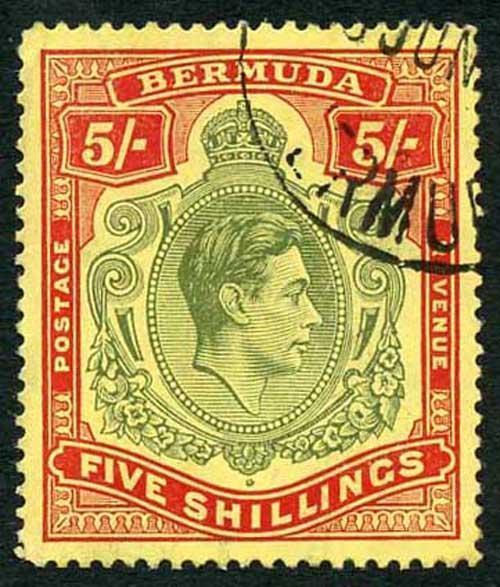 Bermuda SG118b KGVI 5/- Pale Green and Red/yellow Line Perf 14.25 (Ref 28)