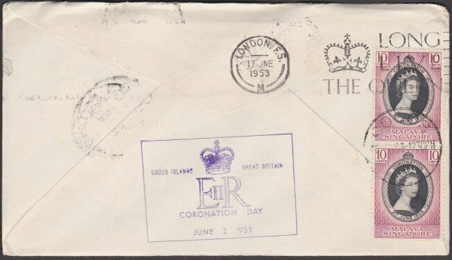 SINGAPORE USED IN COCOS 1953 Qantas flight cover to London..................M503