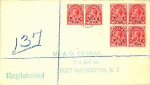 Turks & Caicos Is. 1d KGV Overprinted War Tax (6) 1920 Turks Islands Register...
