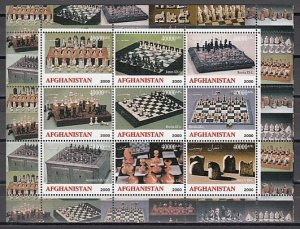 Afghanistan, 2000 Cinderella issue. Chess Sets sheet of 9. 40000 values.