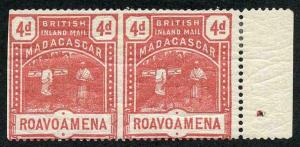 Madagascar SG58a 4d rose Variety IMPERF Between Horisontal Pair M/M