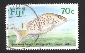 Fiji Sc# 620 SG# 807 Used 1990 70¢ Orange-spotted therapon Perch