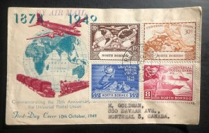 1949 North Borneo First Day Cover FDC To Canada Universal Postal Union 75th