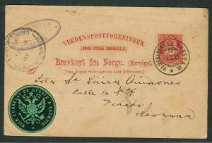 NORWAY 1903, 10ore postal card from RUSSIAN CONSULATE to HAVANA