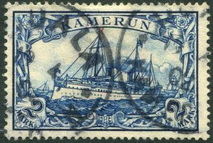GERMAN CAMEROUN-1900 2m Blue no wmk Sg K17 FINE USED V36578
