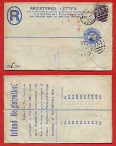 RP21 QV 2d Blue Registered Envelope  Size G Used address Missing